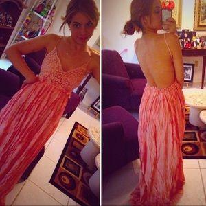 Pink crotchet backless dress